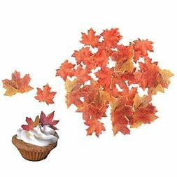 Set of 36 Edible Fall Leaves Gold Leaf Cake Decorations, Par