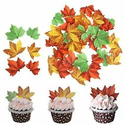 Set Of 48 Edible Fall Leaves Cake Decorations, Cupcake Toppe