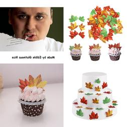 GEORLD Set of 48 Edible Fall Leaves Cake Decorations, Cupcak