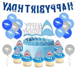Shark Birthday Party Supplies Latex Balloons Banner Cake Dec