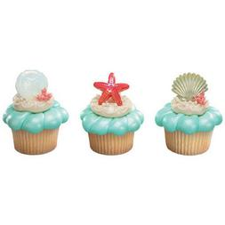 Shell Beach Party Cupcake Topper Rings - Set of 12 {Ocean, P