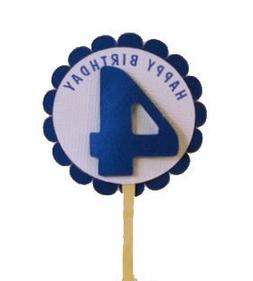 All About Details Shimmer Blue 4th Birthday Cupcake Toppers,
