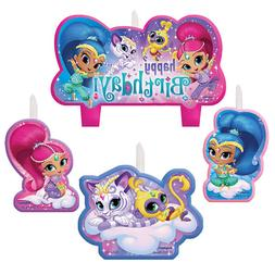 Shimmer and Shine 4 Pc Candles Set Cake Topper Birthday Part