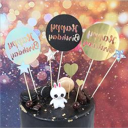 Shiny Illusion Round Happy Birthday Party Cake Topper Desser