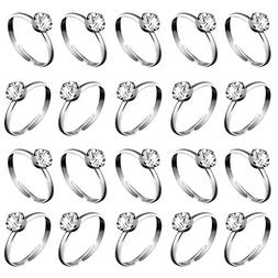 Whaline 36 Pcs Silver Diamond Engagement Rings for Wedding T