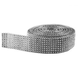 Silver Diamond Sparkling Rhinestone Mesh Ribbon for Event De