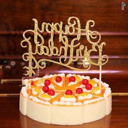 Silver Gold Cake Topper Party Supplier Paper Shiny Happy Bir