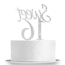 Silver Sweet 16 Cake Topper Happy 16th Birthday Party Decora