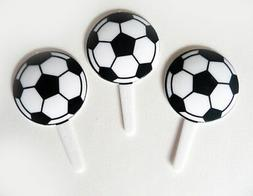 Soccer Ball Cupcake Picks #2 Cake Toppers Decorations Sports