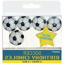 "Soccer Goal Birthday Party Cake Topper Candle Set , Wax, 3"","