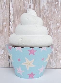 Starfish Mermaid Blue Cupcake Standard and Mini Sized Holder