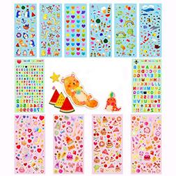 Stickers for Kids,12 Different Sheets Kids Stickers ,Glitter