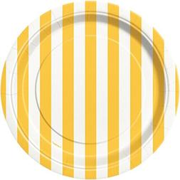 Yellow Striped Paper Cake Plates, 8ct