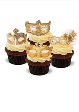 STUNNING MASQUERADE BALL GOLD MASKS MIX - Standups 12 Edible
