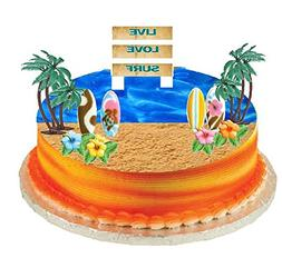 CakeSupplyShop Surf Cake Topper with Edible Sugar Surfboards