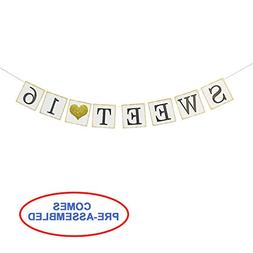 Sweet 16 Birthday Banner Gold Glitter – Sweet Sixteen Deco