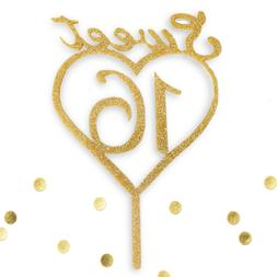 Sweet 16 Gold Glitter Acrylic Heart Birthday Cake Topper Mon