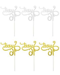 TWDRer 6Pack Sweet Sixteen Cake Toppers,Monogram Number Cake