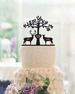 Tree Deer and Buck Wedding Cake Toppers Engraved Mr and Mrs