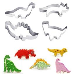 UMFun 4Pcs Stainless Steel Dinosaur Cookies Cutter Biscuit P
