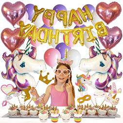 Unicorn Birthday Party Supplies and Decorations 100-pc Set b
