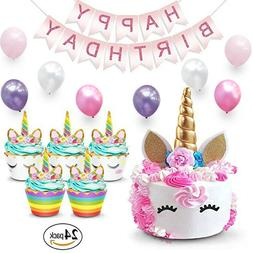 Unicorn Cake Topper & Cupcake Wrappers + Birthday Banner| Ki
