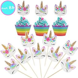 Unicorn Cupcake Topper,Unicorn Party Favors for Kids Birthda