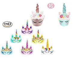 Unicorn Cupcake Toppers and Unicorn Masks Kid Party Cake Dec