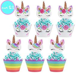 Unicorn Cupcake Toppers and Wrappers,Unicorn Party Supplies
