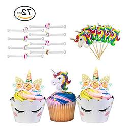 Unicorn Cupcake Toppers and Wrappers | Our 72 Piece Unicorn