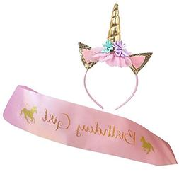 Unicorn Headband and Birthday Girl Sash