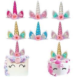 Unicorn Horns Hair Hoop Ornament Kids Birthday Cake Decorati