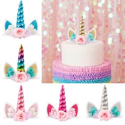 Unicorn Kids Birthday Cake Topper Flower Horn Baby Shower We