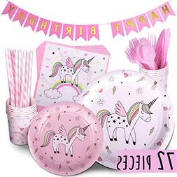 Trendy Brandy Unicorn Party Supplies PINK 72 Piece Pack Chil