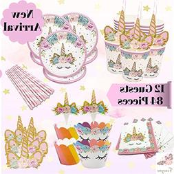 Fancyme Unicorn Party Supplies Set and Decorations – 84-Pi