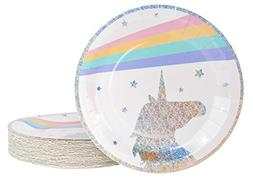 Unicorn Plates - 80-Pack Disposable 9-Inch Round Plates for