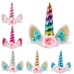 Unicorn Cute Cake Topper Horn Kids Baby Shower Party Decor B