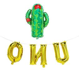 UNO Balloons with Cactus | First Birthday Fiesta Decorations