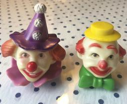 Vintage Birthday Cake Topper Decorations Clown Heads Set of