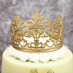 BESTONZON Gold Crown Cake Topper Queen Princess Themed Crown Cake Decoration Wedding Birthday Parties Supplies