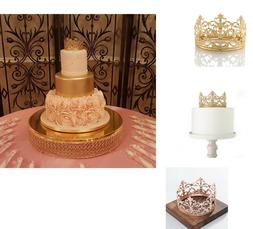 Vintage Gold/Rose Crown Cake Topper Queen Princess Party Wed