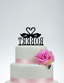 Wedding Cake Topper Black Swan Custom Mr And Mrs Topper With