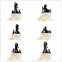 Wedding Cake Topper with Dogs Cats Pets Anniversary Engageme
