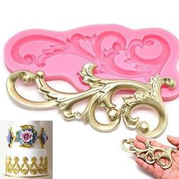 Wedding Cake decorations molds Vintage Relief Flourish Silic