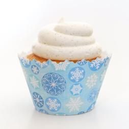 Winter Blue Icicle Snowflake frozen ADJUSTABLE Cupcake Wrapp