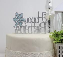 winter theme happy birthday cake