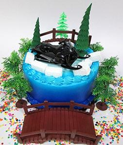 Winter Wonderland Snowmobile Winter Sport Birthday Cake Topp