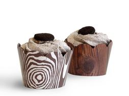 Wood Grain Cupcake Wrappers 48pcs Kids Party Cake Decoration