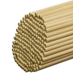 """3/8"""" x 12"""" Wooden Dowel Rods, Pack of 25 Unfinished Hard"""
