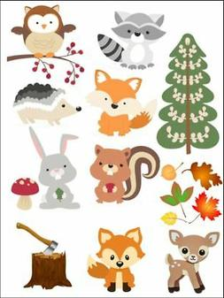 woodland animals nature fox trees Edible Cake Topper Wafer I